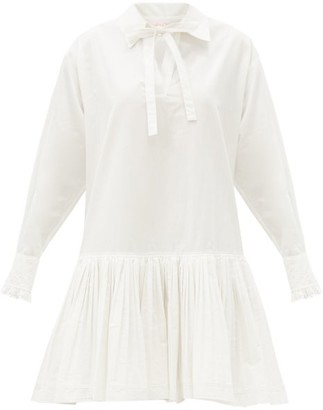 See by Chloe Dropped-waist Cotton Shirt Dress - White