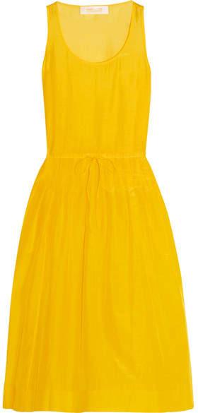 Diane von Furstenberg Pleated Cotton And Silk-blend Gauze Dress - Yellow