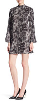 Laundry by Shelli Segal Snake Printed Mock Neck Bell Sleeve Crepe Dress