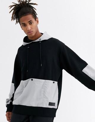 Topman fleece hoodie in black
