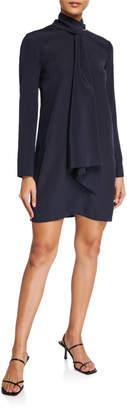 Tibi Heavy Silk Crepe de Chine Tie-Neck Shift Dress