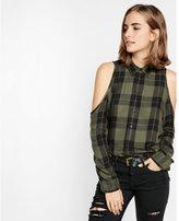 Express green plaid cold shoulder shirt
