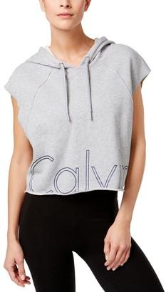 Calvin Klein Women's Outline Cut Off Logo Crop Pullover Hoodie