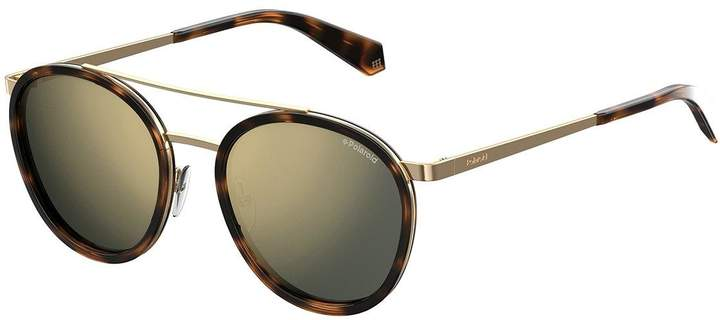 Polaroid Dark Havana Round Lens Sunglasses - Brown