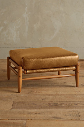 Anthropologie Premium Leather Rhys Ottoman By in Gold Size XS