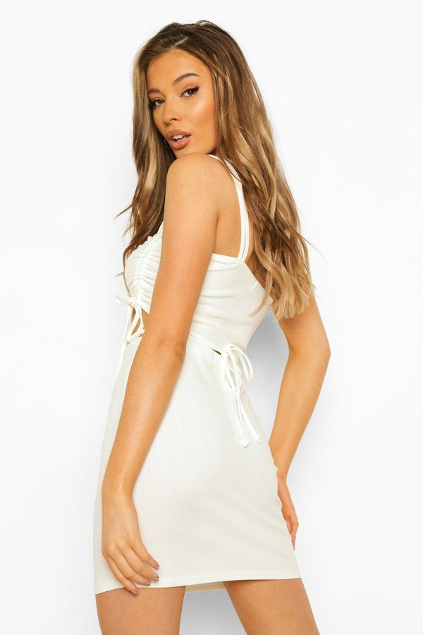 Thumbnail for your product : boohoo Ruched Tie Detail Bandeau & Mini Skirt
