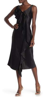 HUGO Kami Ruffled Satin Midi Dress