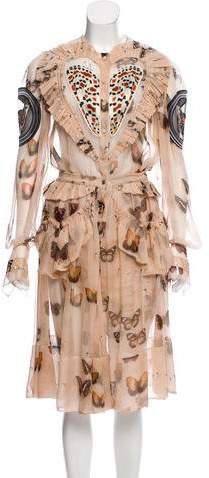 Givenchy Butterfly Print Silk Dress