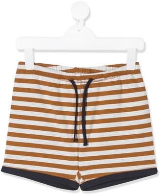 Caramel Drawstring Striped Shorts