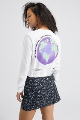 Urban Outfitters Globe Bubble Hem Long Sleeve T-Shirt - white XS at