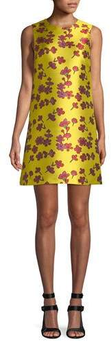 Alice + Olivia Coley Sleeveless Floral-Jacquard A-Line Dress