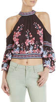 jealous tomato Floral Cold Shoulder Halter Top