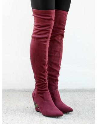 Nature Breeze Over the Knee Women's Wedge Heel Boots in Wine