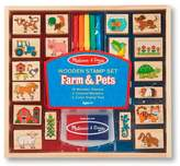Melissa & Doug Farm & Pets Wooden Stamp Set with 2 Color Stamp Pad and 5 Markers