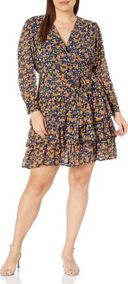 KENDALL + KYLIE Women's Regular V Neck Tiered Ruffle Dress