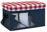 Picnic Time Gingham-Topped Navy Ottoman Cooler/Seat