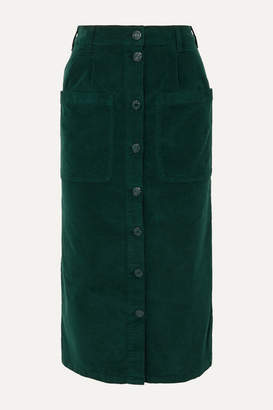 See by Chloe Moleskin Cotton-blend Midi Skirt - Green