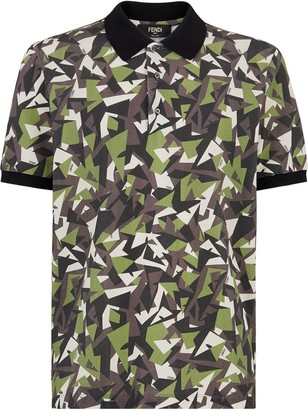 Fendi Geometric Camouflage Polo Shirt