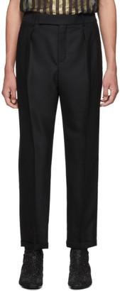 Saint Laurent Black Grain De Poudre Cuffed Trousers