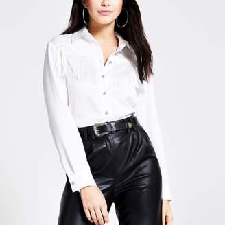 River Island Womens White western fringe long sleeve shirt
