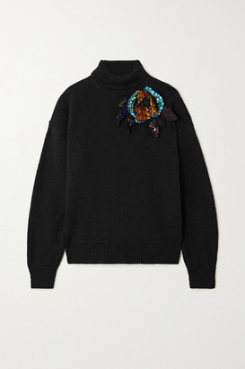 Dries Van Noten Appliqued Wool Turtleneck Sweater - Black
