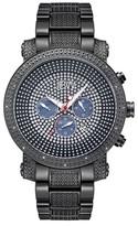 JBW Men's JB-8102-G Victor Japanese Movement Stainless Steel Real Diamond Watch - Black