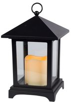 Gerson 9.06-Inch Over Size Roof Black Plastic and Glass Pane Lantern with 2.5 by 3-Inch Indoor/Outdoor LED Candle