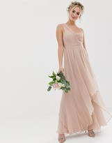 Asos DESIGN Bridesmaid soft layer maxi dress with one shoulder pleated bodice