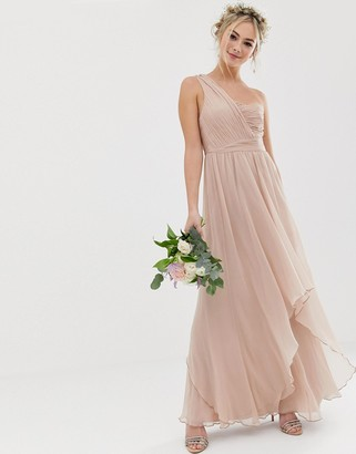 Asos Design DESIGN Bridesmaid soft layer maxi dress with one shoulder pleated bodice-Pink