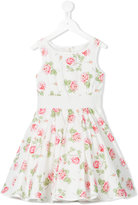 MonnaLisa rose print dress - kids - Cotton/Polyamide - 2 yrs
