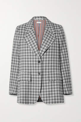 Thom Browne Checked Wool Blazer - Light gray