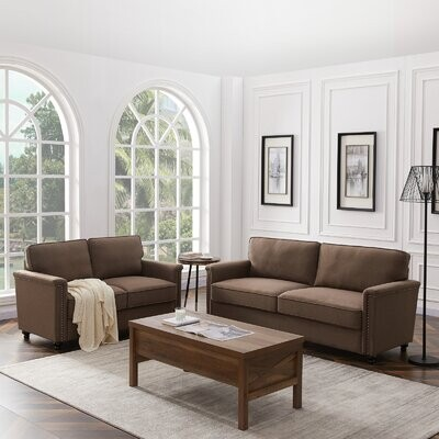 """Thumbnail for your product : Alcott Hill Vinyard 75.6"""" Linen Rolled Arm Sofa with Reversible Cushions"""