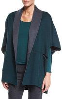 Armani Collezioni Reversible Wool/Cashmere Cape, Steel/Bottle Green