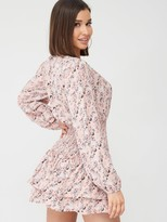 Missguided Wrap Front Shirred Waist Dress Floral Dress - Pink