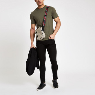 River Island Khaki green slim fit crew neck T-shirt