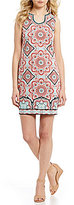 London Times Sleeveless Tile-Print Shift Dress