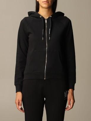 Armani Collezioni Armani Exchange Sweatshirt Logo Zip Hood Behind Lurex Reg