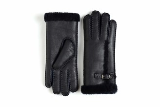 YISEVEN Women Rugged Sheepskin Shearling Leather Gloves Three Points Sherpa Furry Cuff Thick Wool Lined Heated Warm for Winter Cold Weather Dress Driving gift