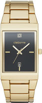 Claiborne Mens Rectangular Gold-Tone Strap Watch