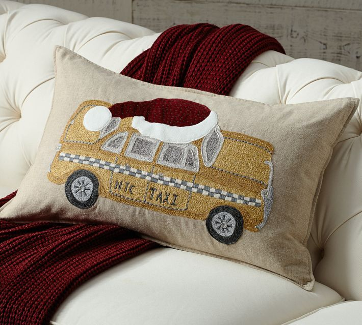 Pottery Barn NYC Yellow Taxi Embroidered Pillow Cover