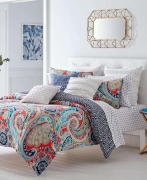 Trina Turk Mirage Paisley Fusion Coral Duvet Set, Twin Bedding