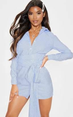 PrettyLittleThing Blue Pinstripe Tie Waist Shirt Dress
