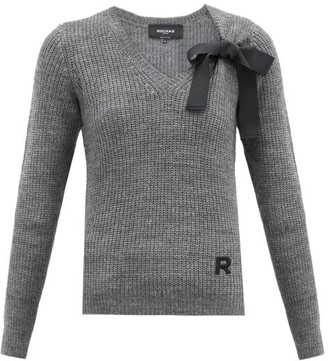 Rochas Bow-embellished V-neck Sweater - Light Grey