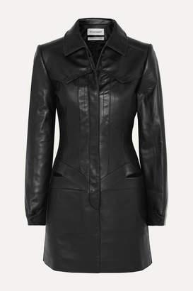 Situationist Cutout Leather Mini Dress - Black