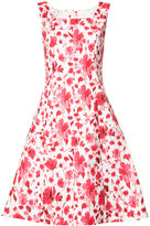Oscar de la Renta flower print flared dress - women - Cotton/Spandex/Elastane - 8