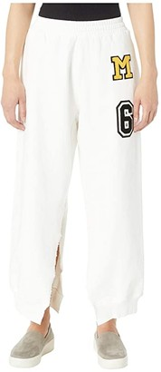 MM6 MAISON MARGIELA Ripped Ankle Patch Detail Sweatpants (White) Women's Casual Pants