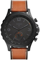 Fossil Q Men's Nate Hybrid Dark Brown Leather Strap Smart Watch 50mm FTW1114