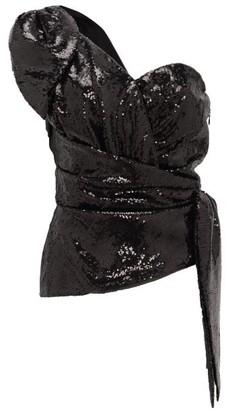 Dundas Sequinned One-shoulder Wrap Top - Black