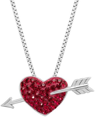 Crystaluxe Heart & Arrow Pendant with Swarovski Crystals in Rhodium-Dipped Sterling Silver - Red