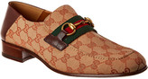 Gucci Gg Canvas Horsebit Leather Loafer